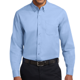 Light Blue Twill Button Down Long Sleeve-Select-A-Logo