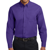 Purple Twill Button Down Long Sleeve-Select-A-Logo