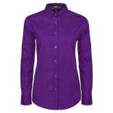 Ladies Purple Twill Button Down Long Sleeve-Select-A-Logo