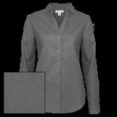 Ladies Red House Diamond Dobby Charcoal Long Sleeve Shirt-Select-A-Logo