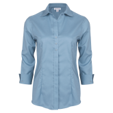 Ladies Red House Light Blue 3/4 Sleeve Shirt-Select-A-Logo