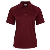 Ladies Maroon Textured Saddle Shoulder Polo-Select-A-Logo