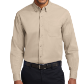 Khaki Twill Button Down Long Sleeve-Select-A-Logo