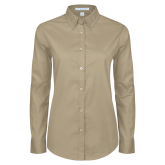 Ladies Khaki Twill Button Down Long Sleeve-Select-A-Logo