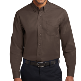Brown Twill Button Down Long Sleeve-Select-A-Logo