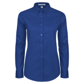 College Ladies Royal Twill Button Down Long Sleeve-Select-A-Logo