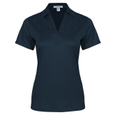 Ladies Navy Performance Fine Jacquard Polo-Select-A-Logo