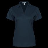 Ladies Navy Performance Fine Jacquard Polo-Select-A-Logo