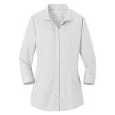 Ladies Red House White 3/4 Sleeve Shirt-Select an Academics Logo