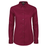 Ladies Maroon Twill Button Down Long Sleeve-Select-A-Logo