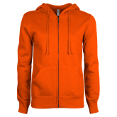 ENZA Ladies Orange Fleece Full Zip Hoodie-Select-A-Logo