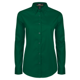 Ladies Dark Green Twill Button Down Long Sleeve-Select-A-Logo