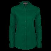 Ladies Dark Green Twill Button Down Long Sleeve-Select-A-Logo