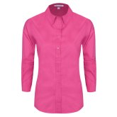 Maricopa Comm Ladies Tropical Pink Long Sleeve Twill Shirt-Select-A-Logo
