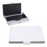 White Metal Business Card Case-Select-A-Logo