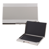 Dual Texture Silver Business Card Holder-Select-A-Logo
