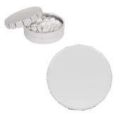 White Round Peppermint Clicker Tin-Select-A-Station